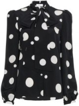 RACIL black Lady tie neck silk blouse ~ spot print pussy bow blouses