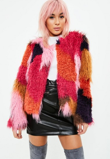 Missguided red patchwork faux fur coat – shaggy collarless jackets – multi-coloured vintage style coats