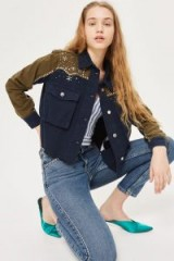TOPSHOP Rhinestone Cropped Shacket – embellished navy & khaki shackets/jackets/shirts