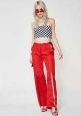 Riccetti Clothing OPEN CARGO PANTS | red front slit trousers