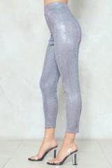 NASTY GAL Roll Up and Shine Glitter Leggings ~ shimmering metallic pants