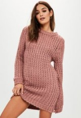 Missguided rose chunky knit oversized jumper dress – pink sweater dresses