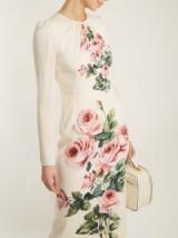 DOLCE & GABBANA Rose-print cream silk-blend dress ~ feminine dresses