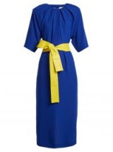 MAISON MARGIELA Ruched-neck blue crepe dress with yellow leather waist belt ~ gathered neckline dresses