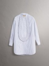 Burberry Ruffle Detail Striped Cotton Tunic Shirt in navy/white ~ fresh blue and white stripes