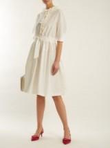 LANVIN Ruffle-trimmed drawstring-waist cotton-blend dress ~ luxe dresses ~ feminine style