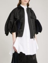 SACAI Cropped satin flared sleeve bomber jacket | black contemporary jackets