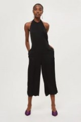 TOPSHOP Satin Halter Jumpsuit – silky black cropped leg jumpsuits – halterneck party fashion