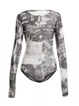 MM6 MAISON MARGIELA Scribble-print long-sleeved bodysuit ~ slogan printed bodysuits