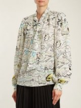 MAISON MARGIELA Scribble-print tie-neck silk blouse ~ balloon sleeved slogan printed blouses