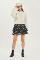 Topshop Shirred Tiered Spotted Skirt   monochrome spotty skirts