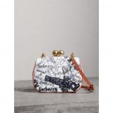 BURBERRY Small Doodle Print Metal Frame Clutch Bag