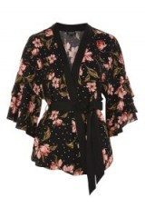 TOPSHOP Spotted Floral Print Kimono