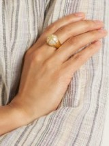 THEODORA WARRE Star-motif pearl and gold-plated ring ~ statement jewellery