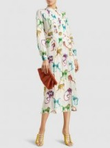 STELLA JEAN Monkey Print Silk-Georgette Shirt Dress ~ long sleeved front pleated dresses ~ soft pleats