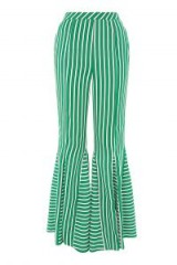 Topshop Stripe Flare Trousers / striped green extreme flares