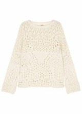 FREE PEOPLE Sweet Sunny Days chunky-knit cotton blend jumper | ivory dropped shoulder jumpers | boho chic