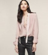 TALA BOW DETAIL SHIRT PINK LINEN / feminine style shirts/blouses
