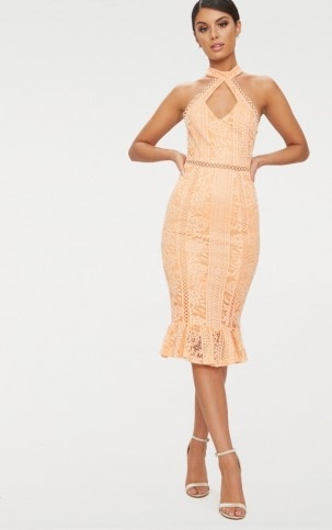PRETTYLITTLETHING TANGERINE LACE CUT OUT FRILL DETAIL MIDI DRESS | pale orange party dresses