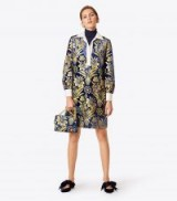 TORY BURCH THELMA DRESS ~ rich floral fabric dresses ~ metallic-foiled velvet