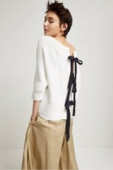 FRENCH CONNECTION TIE DETAIL MOZART SLASH NECK JUMPER | white back bow jumpers