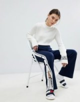 Tommy Jeans Snap Pant in Navy | blue and white stripe trousers | press stud sides