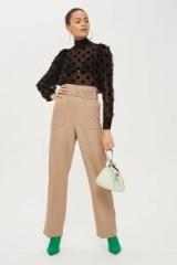 Topshop Topstitch Wide Leg Trousers | camel high waist pants