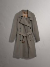 BURBERRY Tropical Gabardine Asymmetric Trench Coat Chalk Green ~ stylish belted macs