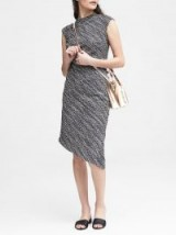 BANANA REPUBLIC Tweed Mock-Neck Sheath Dress ~ asymmetric dresses