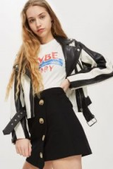 Topshop Twill Asym Wrap Skirt   black asymmetric button front skirts