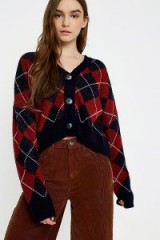 UO Argyle Button-Down Cardigan | cropped vintage style cardigans
