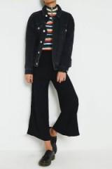 UO Black Plisse Culottes / cropped black casual pants