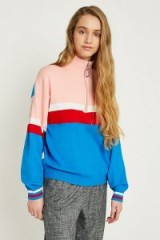 UO Colour-Blocked Zip-Up Funnel Neck Jumper | multi-coloured jumpers