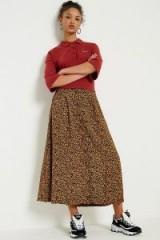 Urban Renewal Vintage Remnants Brown Floral Midi Skirt   brown printed skirts