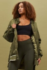 Ivy Park Khaki Varsity Bomber Jacket – green longline satin style jackets