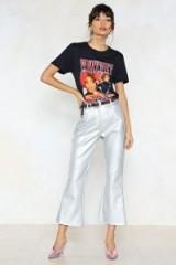 NASTY GAL Watch This Space Metallic Pants ~ crop leg silver pants