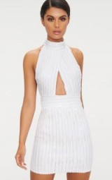 PRETTYLITTLETHING WHITE SEQUIN BACKLESS HIGH NECK CROSS OVER DETAIL BODYCON DRESS | sparkly cut out party dresses