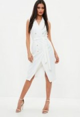 MISSGUIDED white sleeveless belted midi blazer dress