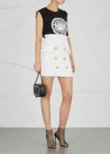 BALMAIN White tweed mini skirt   chic gold button embellished skirts