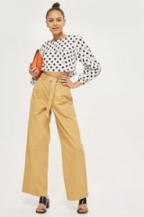 Topshop Wide Leg Belted Chinos | natural-stone pants