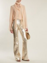 CHLOÉ Wide-leg metallic-silver leather trousers ~ chic shiny pants