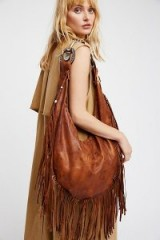 Totem Salvaged Willow Fringe Hobo. BROWN LEATHER BOHO BAGS