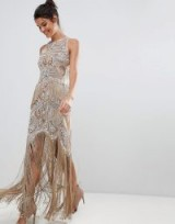 A Star Is Born Luxe All Over Jewel Embellished Maxi Dress With Beaded Tassel Hem – boho glamour – open back fringe hem occasion dresses