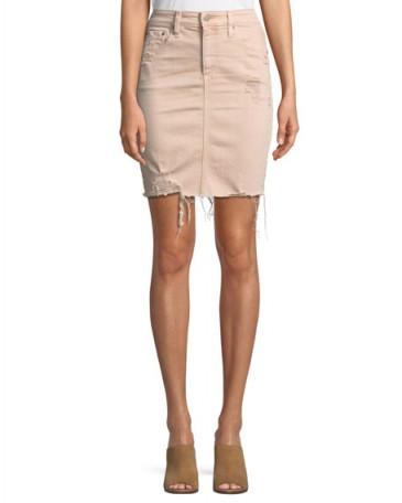 AG Erin Distressed Denim Skirt ~ pink frayed hem skirts