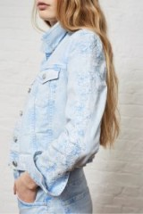 FRENCH CONNECTION AIDA WESTERN DENIM JACKET | pale blue embroidered jackets
