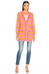 ALBERTA FERRETTI Pink and Yellow Striped Cardigan