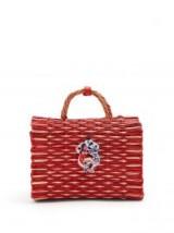 HEIMAT ATLANTICA Amore Piccolo medium woven-wicker bag ~ red raffia top handle bags