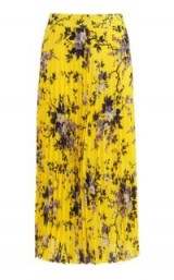 WAREHOUSE ANAIS FLORAL PLEAT SKIRT / yellow flower print midi skirts