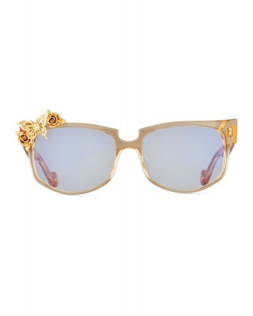 Anna-Karin Karlsson Seeking Summer Transparent Cat-Eye Optical Frames, Beige ~ embellished acetate sunglasses