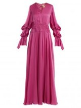 ROKSANDA Ansari gathered rope-detail silk gown ~ silky fuchsia-pink gowns